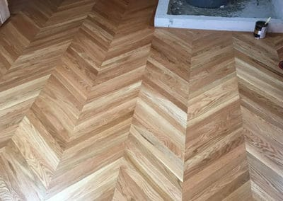 Custom Chevron Flooring Installation